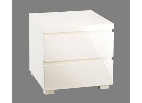 Troyes Cream High Gloss 2 Drawer Bedside 19LD98