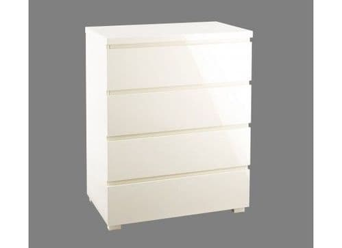 Troyes Cream High Gloss 4 Drawer Chest 19LD97