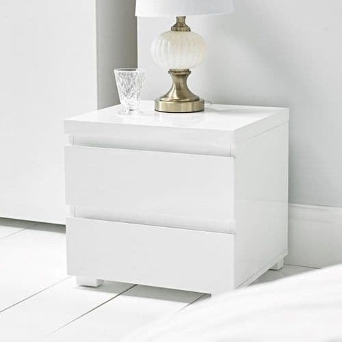 Troyes White High Gloss 2 Drawer Bedside 19LD78