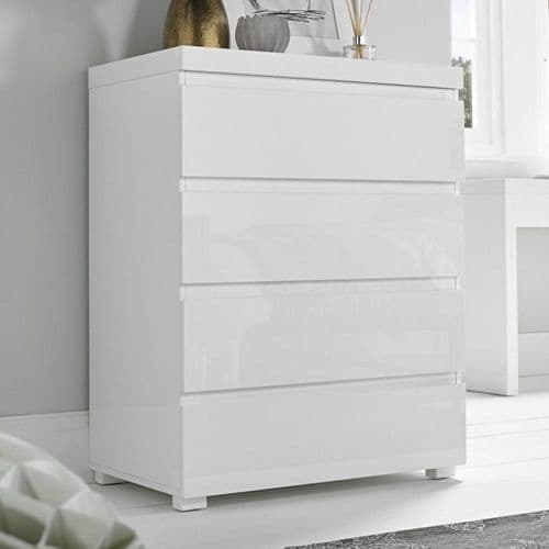 Troyes White High Gloss 4 Drawer Chest 19LD79