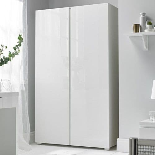 Troyes White High Gloss Finish 2 Door Wardrobe 19LD76