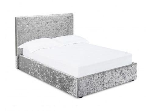 Tulle Silver Crushed Velvet Fabric Double Ottoman Bed 17LD203