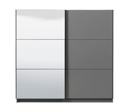 Valenca Large Grey And Mirrored Sliding Door Wardrobe 220cm