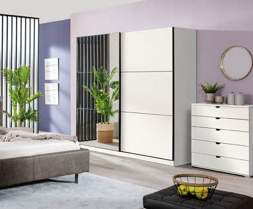 Valenca Large White And Mirrored Sliding Door Wardrobe 220cm
