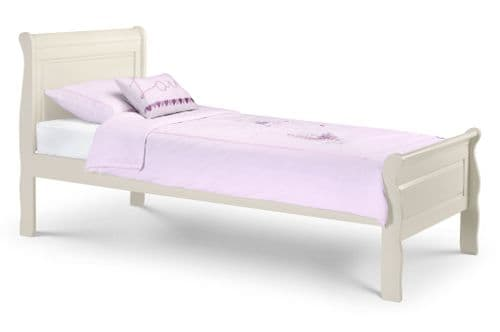 Valencia Silky Stone White Sleigh Single Bed JB19