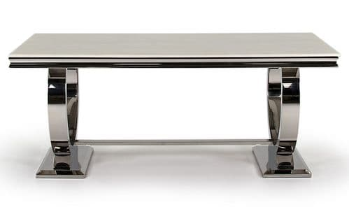 Vasto Cream Marble And Steel Dining Table 18VD77