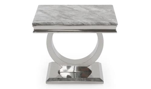 Vasto Grey Marble And Steel Lamp Table 18VD88
