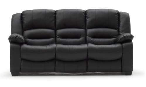 Venosa Black Bonded Leather 3 Seater Sofa 18VD110