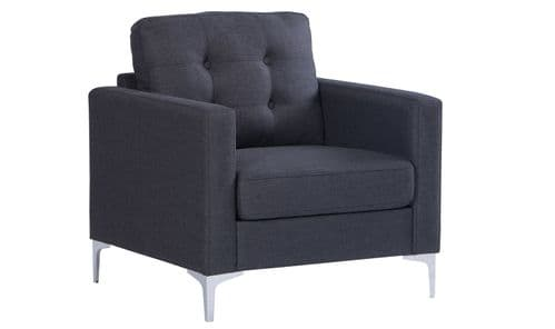 Vibo Charcoal Fabric 1 Seater Sofa 18VD128