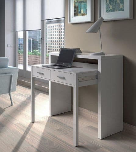 Vienna Artic White Extending Computer Desk Console Dressing Table