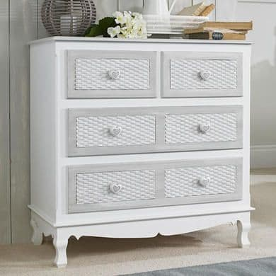 Villefranche White And Grey 2+2 Chest Of Drawers 19LD12