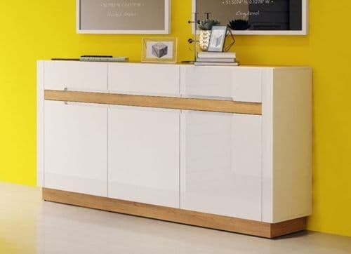 Visio White High Gloss With Oak Effect 3 Door Wide Sideboard SZVS45