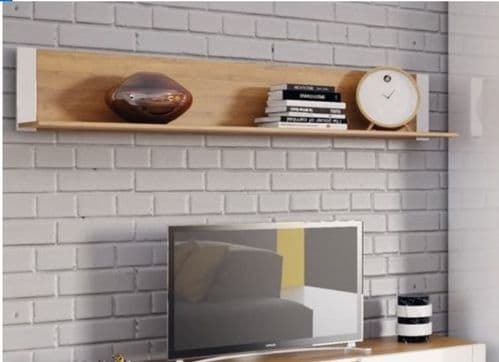 Visio White High Gloss With Oak Effect Floating Wall Shelf SZVS35