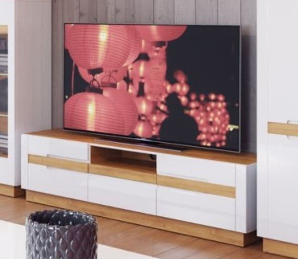 Visio White High Gloss With Oak Effect TV Unit SZVS25