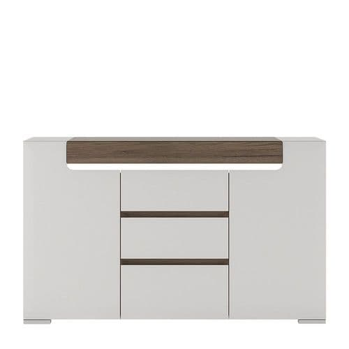 York White High Gloss 2 Door 3 Drawer Sideboard with Plexi Lighting FG4202344