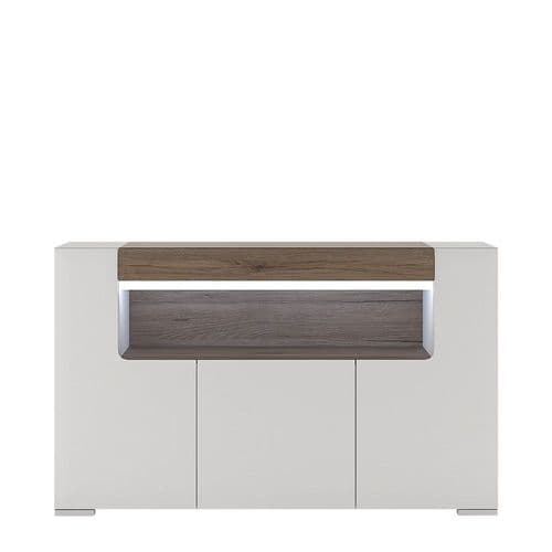 York White High Gloss 3 Door Sideboard with open shelving with Plexi Lighting FG4202944