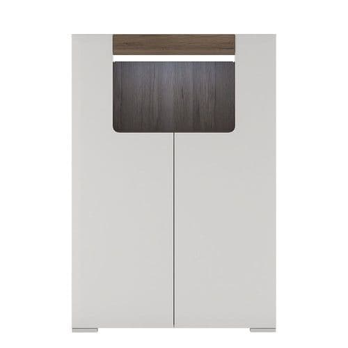 York White High Gloss Low 2 Door cabinet with open shelf with Plexi Lighting FG4202744