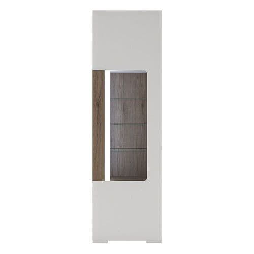 York White High Gloss Tall Narrow Glazed Display Cabinet with Plexi Lighting FG420024