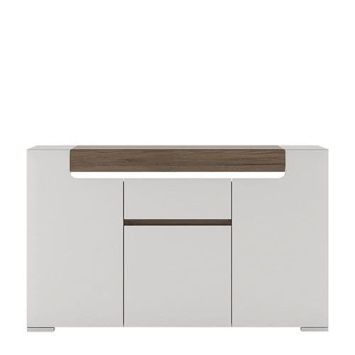 York White High Gloss Toronto 3 Door 1 Drawer Sideboard with Plexi Lighting FG4202044