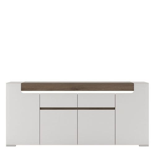 York White High Gloss Wide 4 Door 2 Drawer Sideboard with Plexi Lighting FG4202544